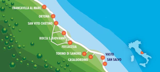 Mappa dei comuni che compongono la costa dei trabocchi
