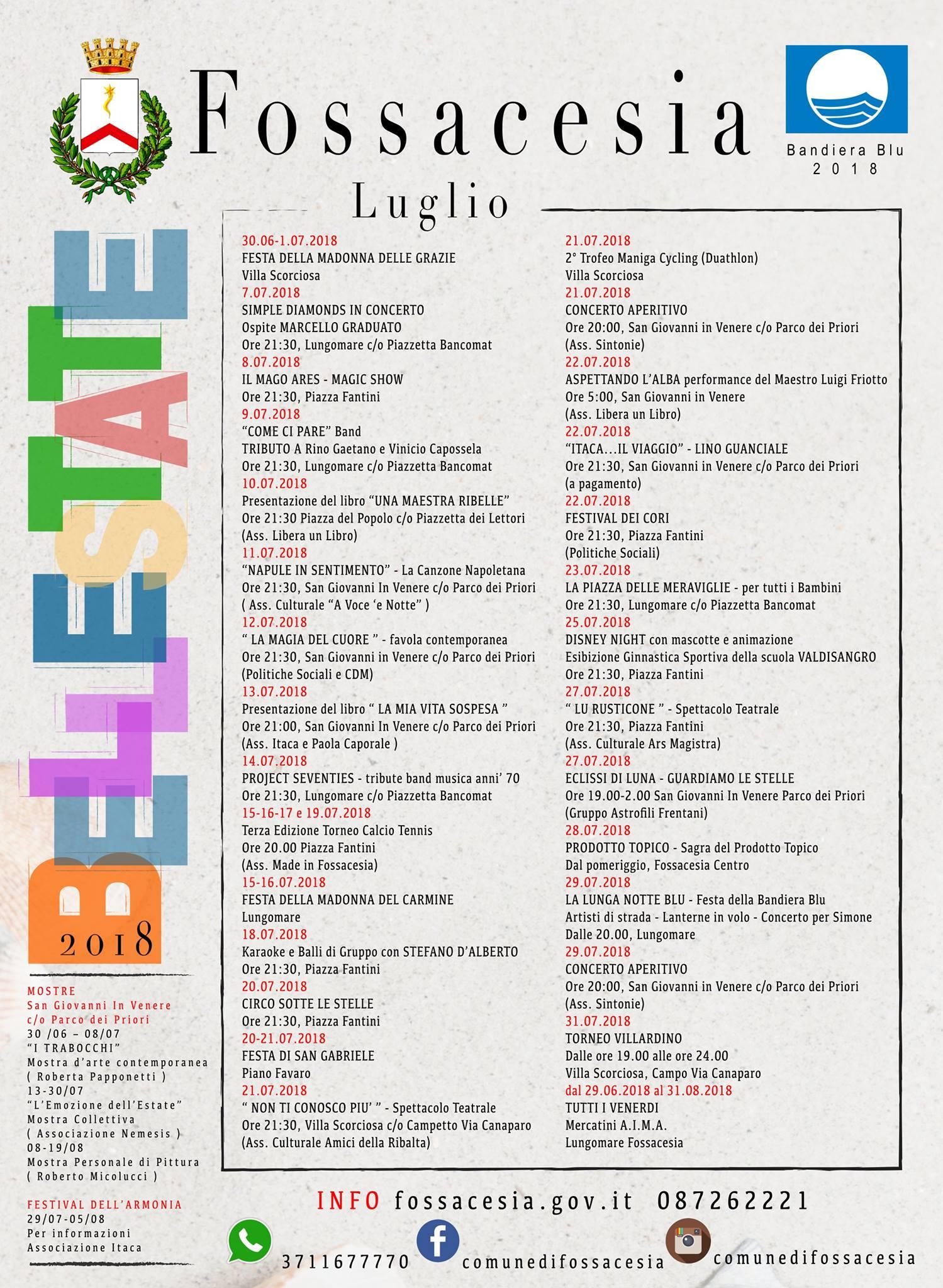 Calendario Eventi.Bellestate 2018 Calendario Degli Eventi Estivi A Fossacesia