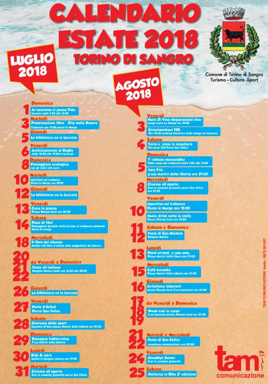 Calendario eventi estivi 2018 a Torino di Sangro