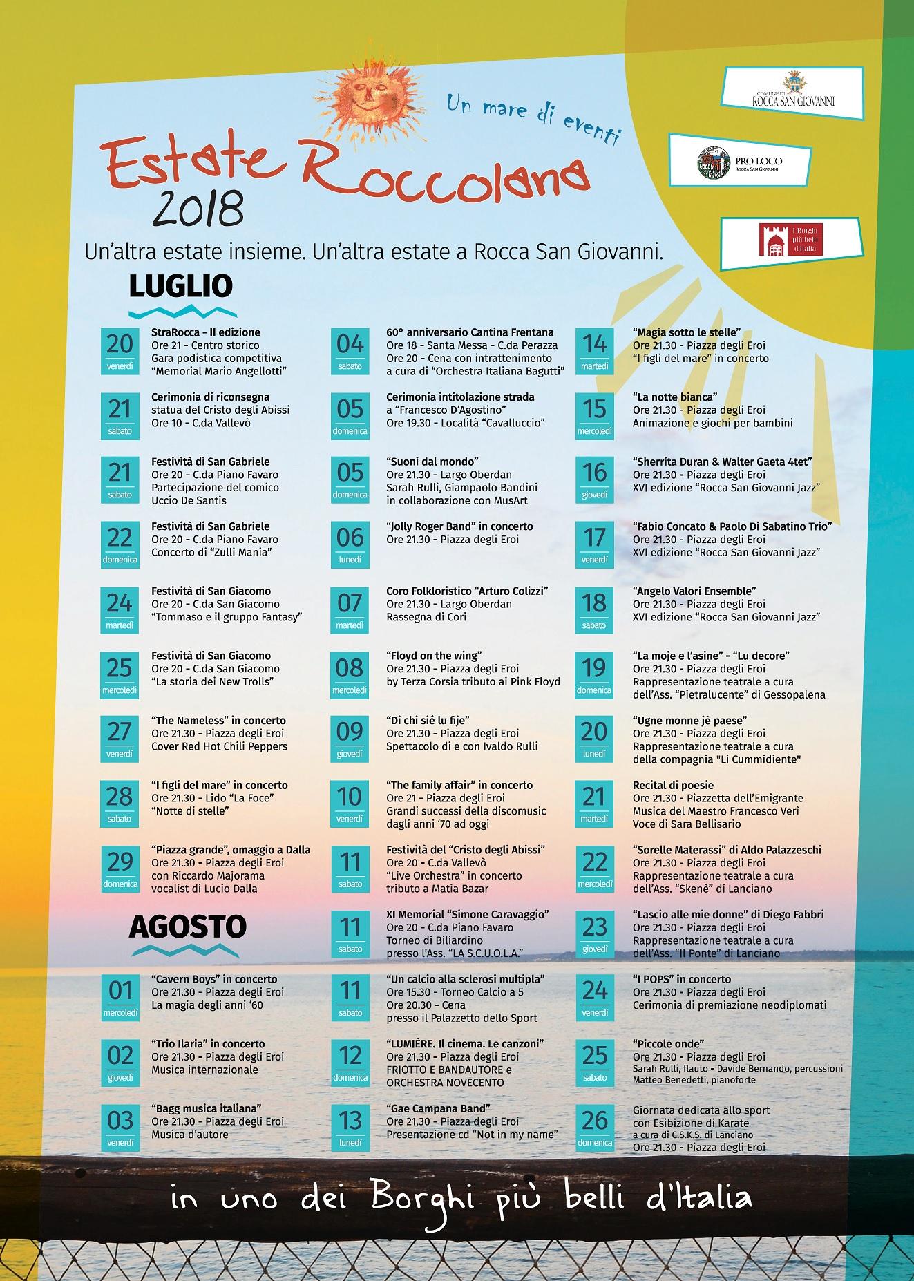 Calendario degli eventi estivi in programma